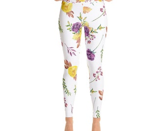 Hot Yoga Pants - Printed Yoga Leggings - Hot Yoga Clothes - White Yoga Leggings