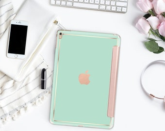 iPad Case . iPad Pro 10.5 . Paris Green Mint with Rose Gold Smart Cover Hard Case for the  iPad mini 4  iPad Pro  New iPad 9.7 2017