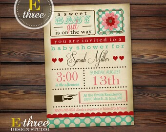 Shabby Chic Baby Shower Invitation - Baby Girl Shower Invitations - Vintage Style - Turquois, Red, Pink