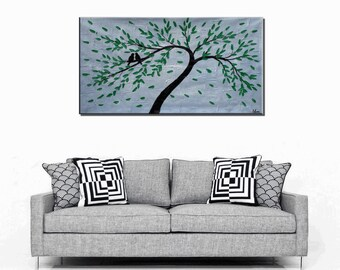 Love Birds Painting, Oil Painting, Canvas Art, Canvas Painting, Wall Art, Abstract Art, Wedding Gift, Original Painting, Abstract Painting