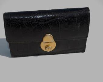 Neiman Marcus Vintage Black Leather Accordion Wallet