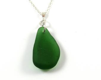 Kelly Green,  Sea Glass Necklace, Green Sea Glass,  Pendant,  Necklace, Sea Glass Jewellery, Beach Glass, Mothers Day, MADELON