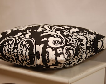 Premier Prints Damask  Black White Throw Pillow Cover, Contemporary Sofa Pillow, invisible zipper closure