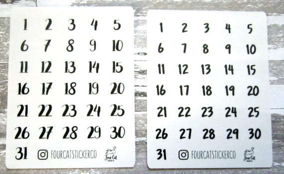 Date stickers bullet journal stickers clear stickers transparent stickers number stickers from fourcatstickerco on etsy studio