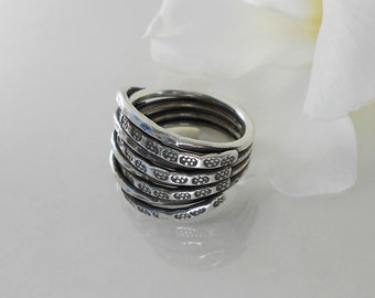 Karen Hill Tribe Silver Hand Stamped Wrap Ring - Adjustable Ring- Sterling Silver Ring - Women ring