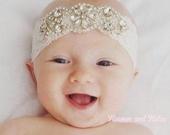 Rhinestone headband, silver gold headband, flower girl headband, wedding headband, dressy headband, formal headband, lace headband, flower