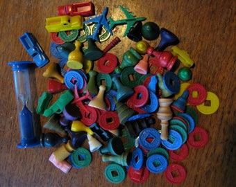 Vintage Plastic and Wood Game Pieces Tokens Lot