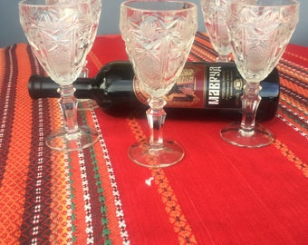 Vintage White Wine Glasses Set, Vintage Drinking Set, Drinking Glasses, Wine Glasses, Wine Goblets, Crystal Wine Glasses.