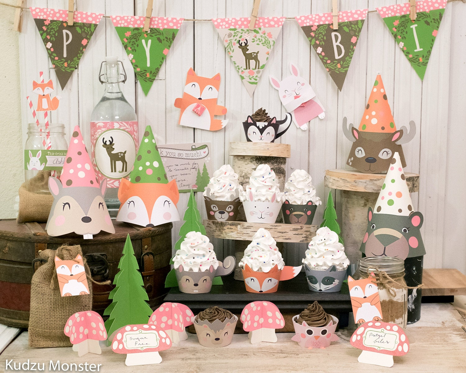 Girly pink woodland party printable decor kit fox baby deer for Animal party decoration
