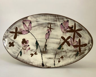 Floral Oval shallow bowl
