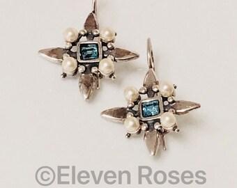 Vintage Starburst Earrings 925 Sterling Silver Blue Topaz & Pearl Free US Shipping