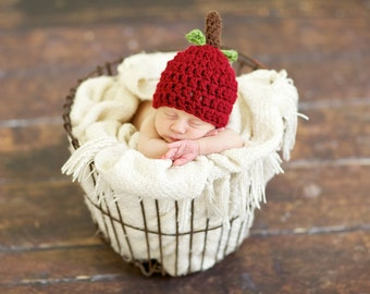 SALE Apple Hat / Baby Apple Hat / Red Apple Hat / Newborn Apple Hat / Photography Props for Newborn Photography / Ready to ship Apple Beanie