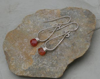 Faceted Orange Carnelian Briolette Earrings Wire Wrapped in Sterling Silver, Gemstone Dangle Drop Earrings Jewelry