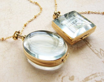 Beveled glass locket necklace, personalized womens necklace, heirloom glass locket necklace bridal necklace wedding locket gift for her