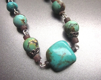 Natural Turquoise Necklace Genuine Turquoise Stone Jewelry Southwest Style