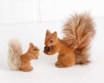 Vintage Wagner Flocked Red Squirrel Figurines, Wagner West Germany Handwork Kunstlerschutz