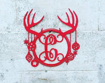 Antler Monogram Door Sign Reindeer Antler Christmas Tree Sign Christmas Door Sign