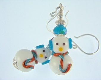 Christmas Earrings, Snowman Earrings, Christmas Jewelry, Lampwork Earrings, Xmas Glass Bead Earrings, Lampwork Jewelry, Beadwork Earrings