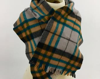 Merino Wool Plaid Scarf - Vintage 1970s Winter Scarf - Carson Pirie Scott & Co - Made in West Germany - Vintage 1970 Merino Wool Plaid Scarf