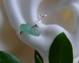 Cartilage jewelry*light aventurine stone cuff*nonpiercing daith* septal ring* nose ring*silver with green jewelry*sea green* aventurine