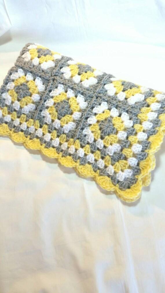 Häkeln Baby Decke Oma Platz Baby Decke grau grau gelb