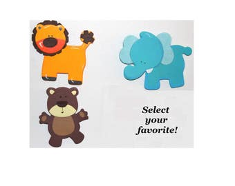 Animal Magnets Personalized With Short MESSAGE or NAME Hand Lettered Lion Elephant Bear