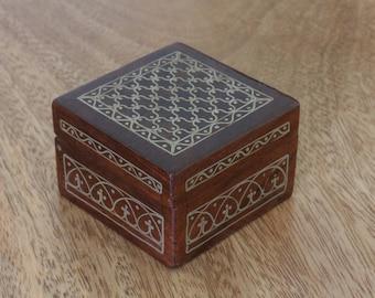 Ring Box, Metal inlay Box, Vintage Box, Antique Box, Wedding Gift, Cuff link Box, Dice Box, Coin Box, Wooden Box, Royal, Traditonal