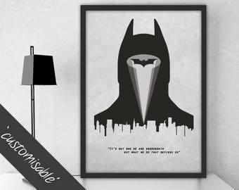 Batman Inspired Quote Print / Personalised Poster Gift / Alternative Film Poster /  Professionally Printed
