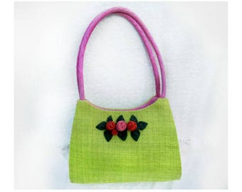 green pink purse - green linen handbag - Summer hand bag -girly girl purse  - handbag purse - designer purse -  # H 20