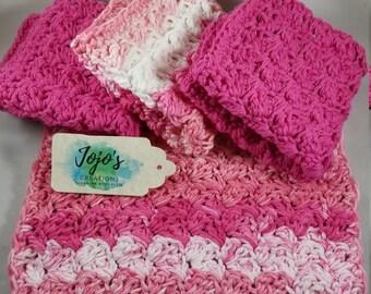 kitchen dishcloths, baby shower gift, pink and white,  handmade, crochet dishcloths, housewarming gift,