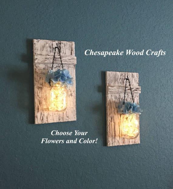 Stargaze Set Of 2 Hanging Mason Jar Pendant Lights By: Set Of 2 Hanging Mason Jar Sconces With Hydrangeas Mason Jar