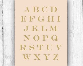 ABC Print, Blush Pink, Wall Print, Nursery
