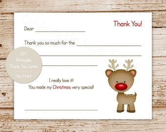 YOU PRINT printable christmas thank you cards for kids . rudolph inspired, red nosed reindeer fill in the blank thank you . Instant Download