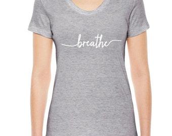 Respirer Yoga T-Shirt, femmes vêtements, respirer TShirt, Yoga, vêtements, disponibles: S M L Xl