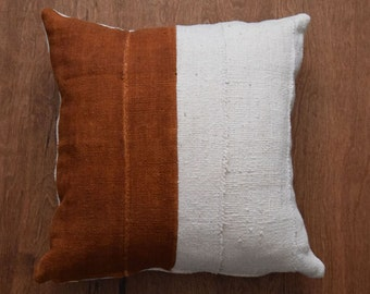 """Authentic Mudcloth Pillow, Double sided mud cloth, Tribal pillow cover for 20"""" x 20"""" Pillow Inserts - REF: off white & rust - Made to order"""