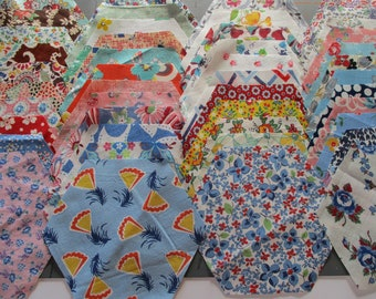Hexagon Feedsack Quilt Squares-Set of 45-ALL DIFFERENT-#2