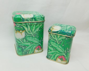 Vintage PopPrint London Stacking Small Metal Tin Cans Made in Hong Kong Green Foliage Leaves Red Berries White Gold Flower Blossom Set Two