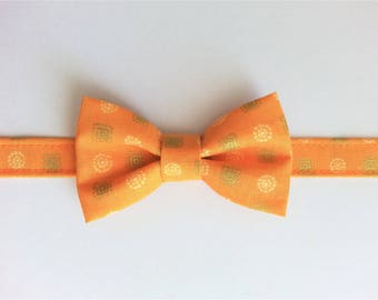 Bow tie for boy orange patterned gold