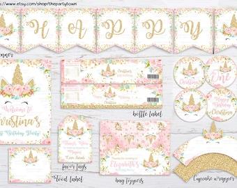 Unicorn Party Package, Magical Unicorn Invite, Floral Unicorn Decorations, Face Unicorn, Dreamy Pink Gold Unicorn Party, Pastel Flower