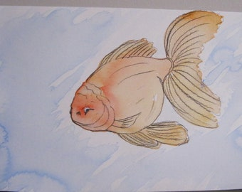 Goldfish #2 - India Ink Watercolor Painting - Original