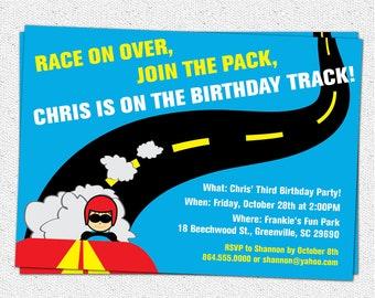 Printable Race Car Birthday Party Invitation, Racecar, Driver, Track, Boy, DIY digital file