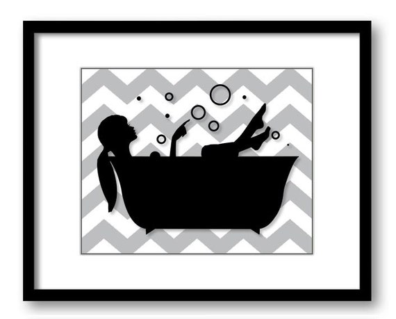 Bathroom decor bathroom print grey gray black white girl with