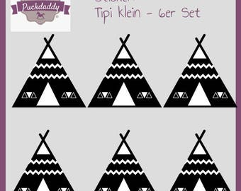 Sticker tipi black small - 6 piece set