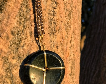 BLACK TOURMALINE Unisex Crystal Necklace on Antique Gold Chain | Tourmaline Doughnut Donut Pendant, Crystal Healing Round Circle Necklace