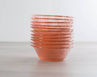 Vintage Pink Glass Grape Textured Bowls