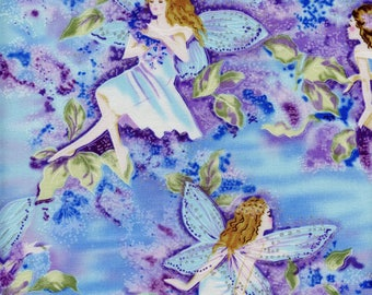 Fairies Fleur Timeless Treasures Cotton Fabric CM8596 Blue, By the Yard