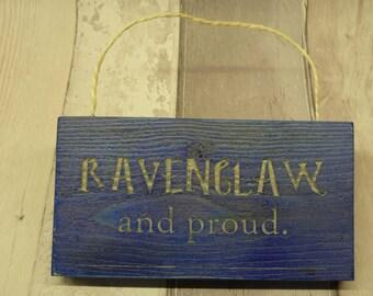 Harry Potter. Hogwarts. Ravenclaw. Hanging wood sign.