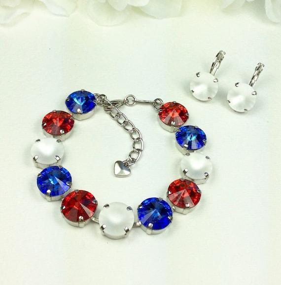 Swarovski Crystal 12MM Bracelet and Earrings  -  Red, White & Blue! -  Designer Inspired -  FREE SHIPPING