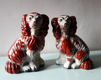 Fabulous Pair of Antique Staffordshire Dogs