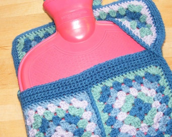 Crochet pattern - hot water bottle cover using granny squares with a flip top opening